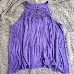 Purple Knit Flowy Top